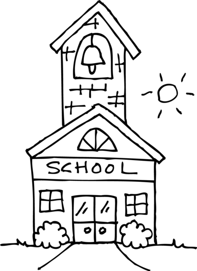 Cute Schoolhouse Coloring Page.