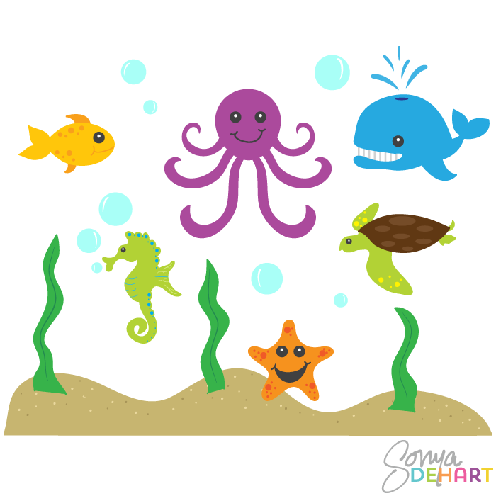 Free Sea Animal Art, Download Free Clip Art, Free Clip Art.