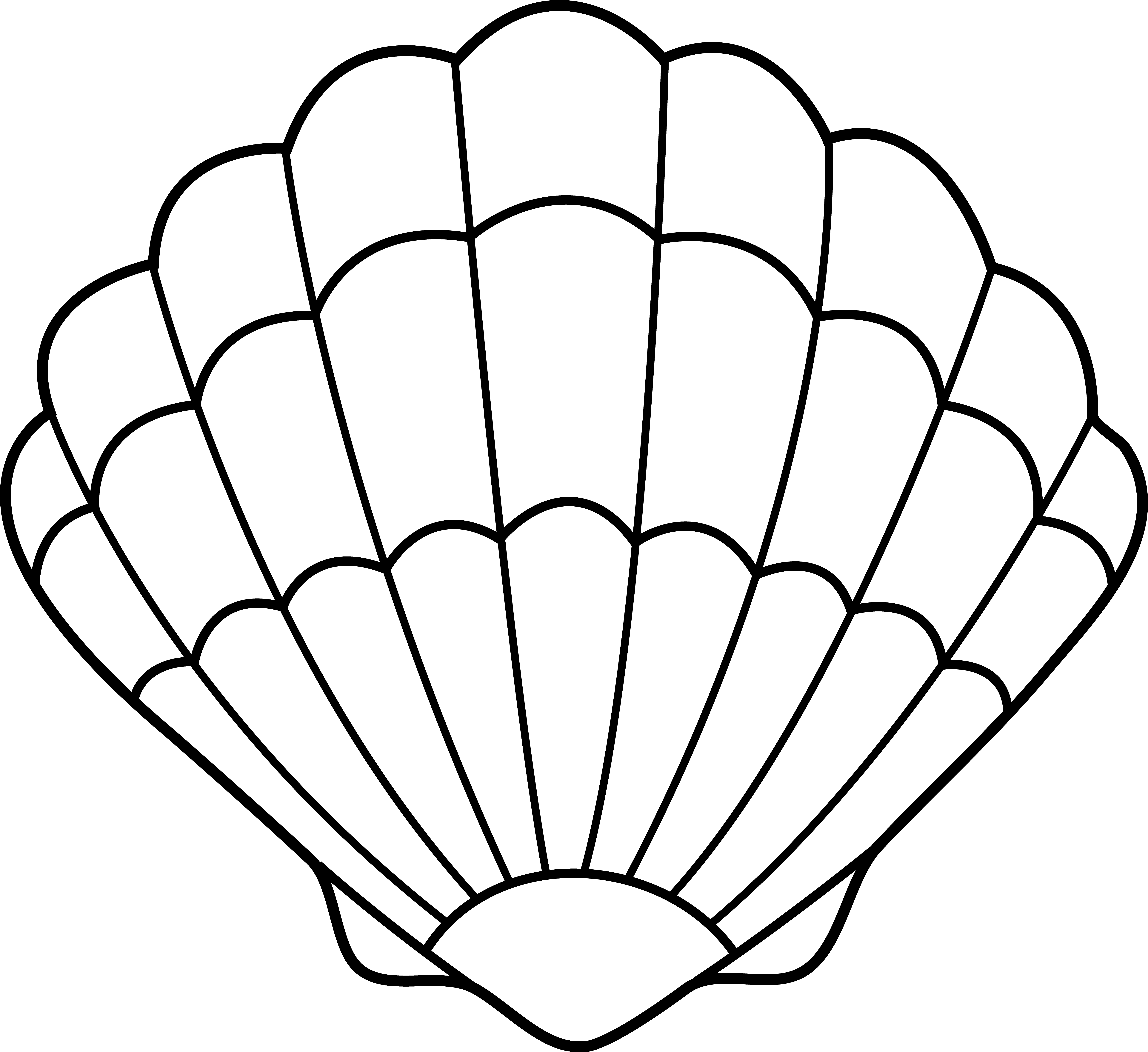 Seashell Lineart Free Clip Art : Shell Coloring Pages Sea.