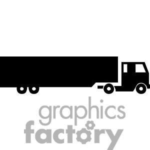 Semi Truck Silhouette clipart. Royalty.