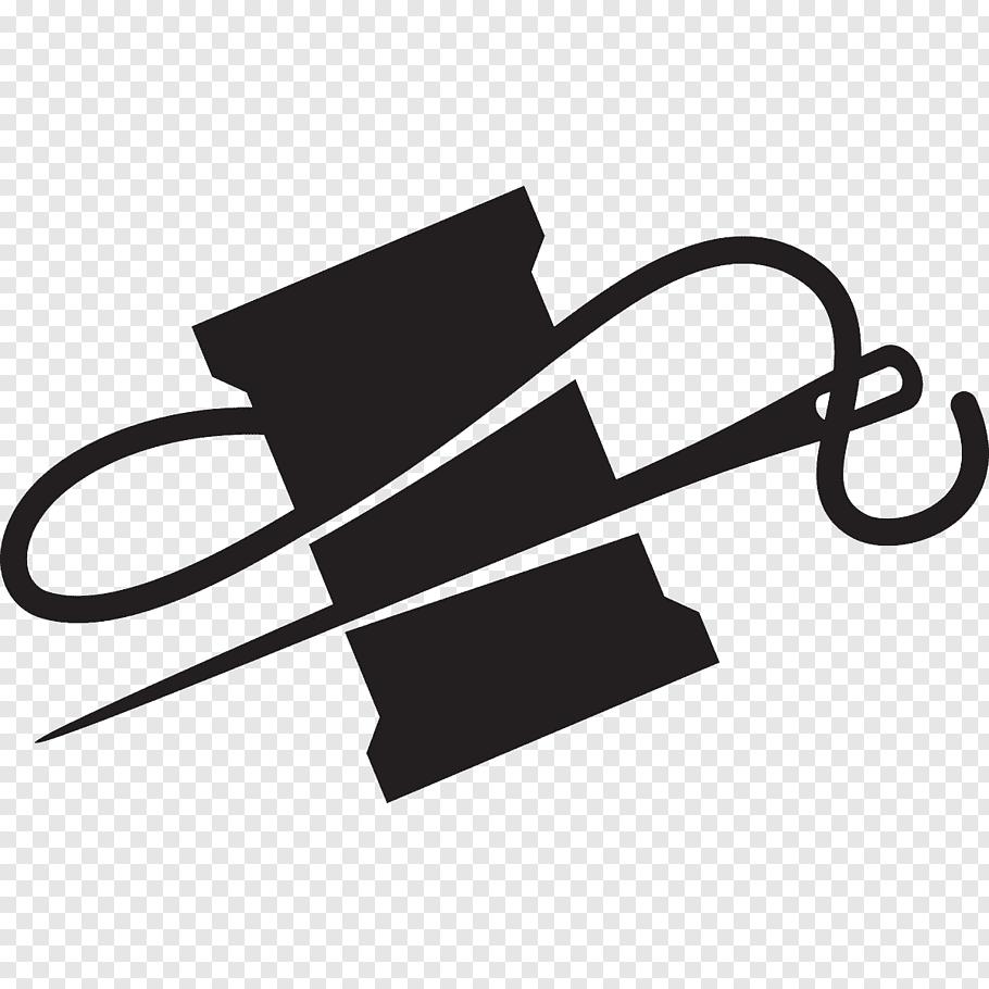 Black needle and thread illustration, Hand.