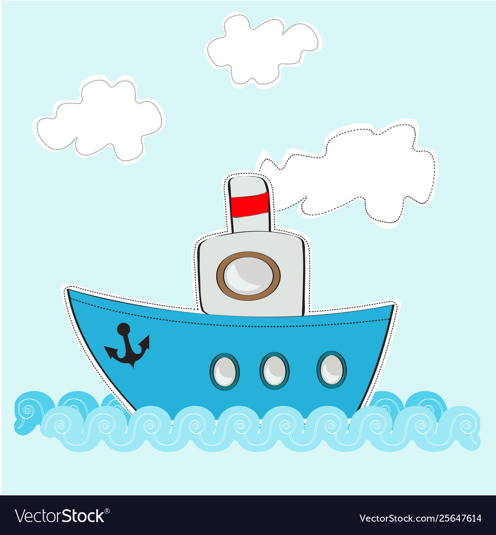 Funny cartoon ship on sea with clouds.