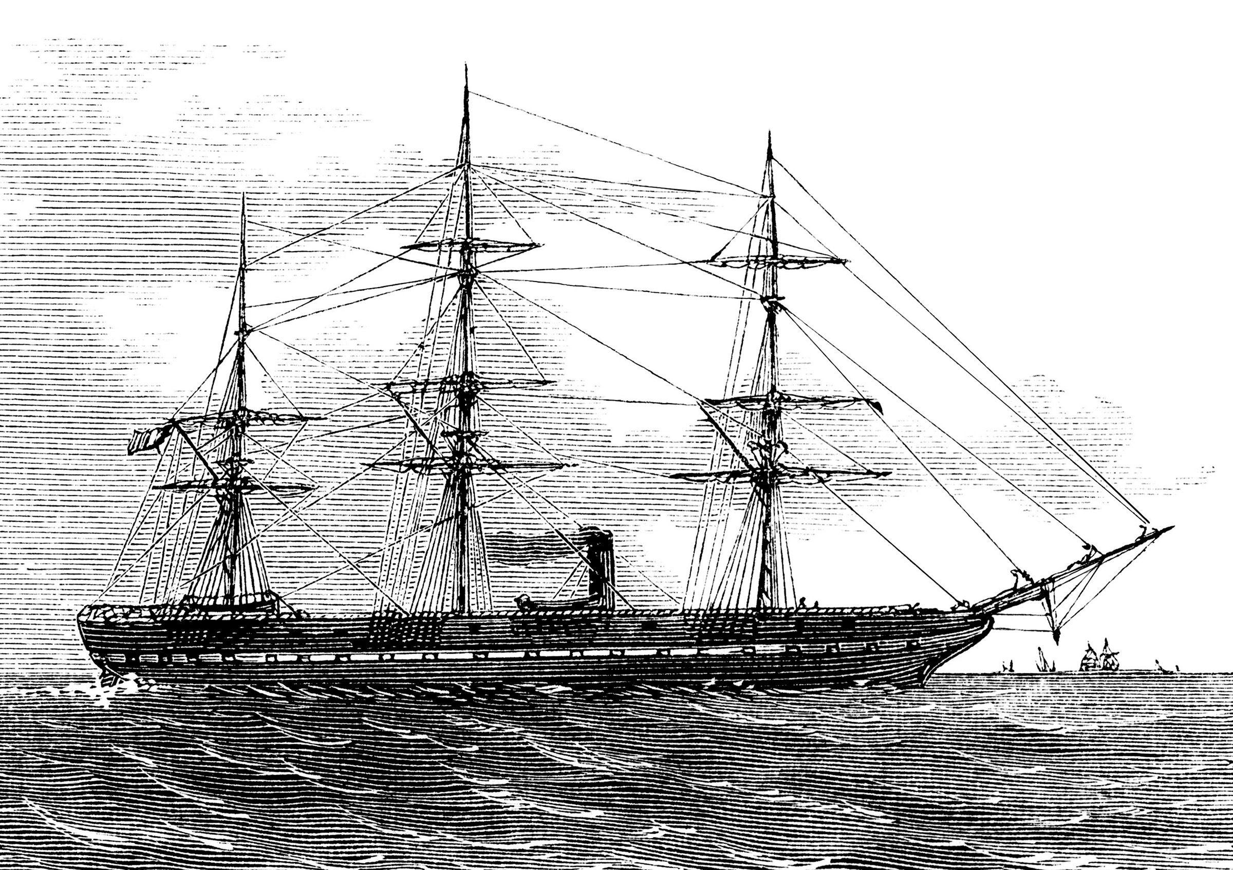 vintage ship clip art, black and white graphics free, sea.