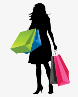 Free Girl With Shopping Bags Clip Art with No Background.