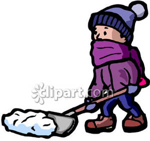 Little Boy Shoveling Snow Royalty Free Clipart Picture.