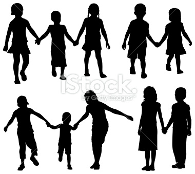 silhouette of kids.