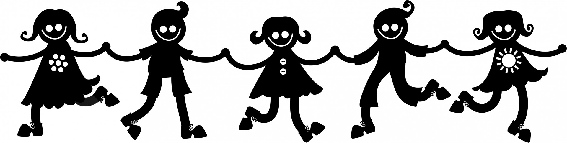 Silhouette Kids Holding Hands Free Stock Photo.