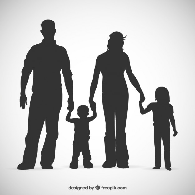 Family silhouettes Vector.