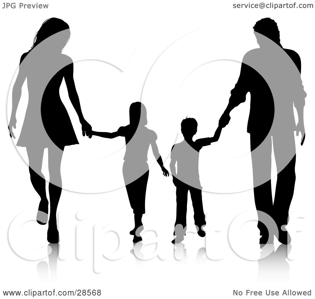Clipart Illustration of a Black Silhouetted Family Walking.