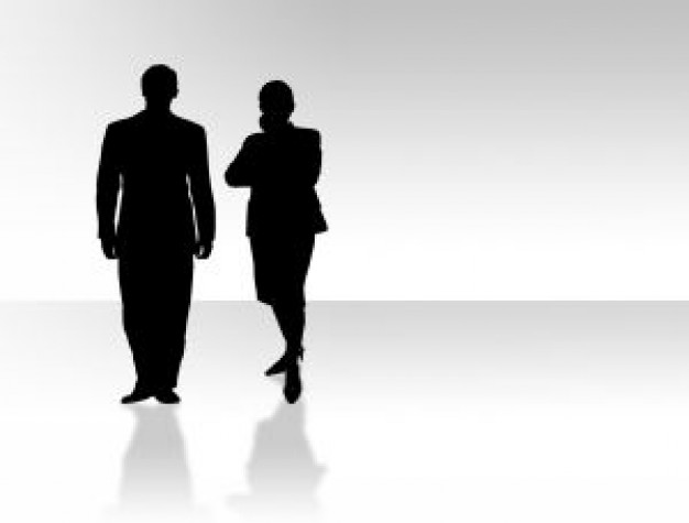 Silhouette Man And Woman.