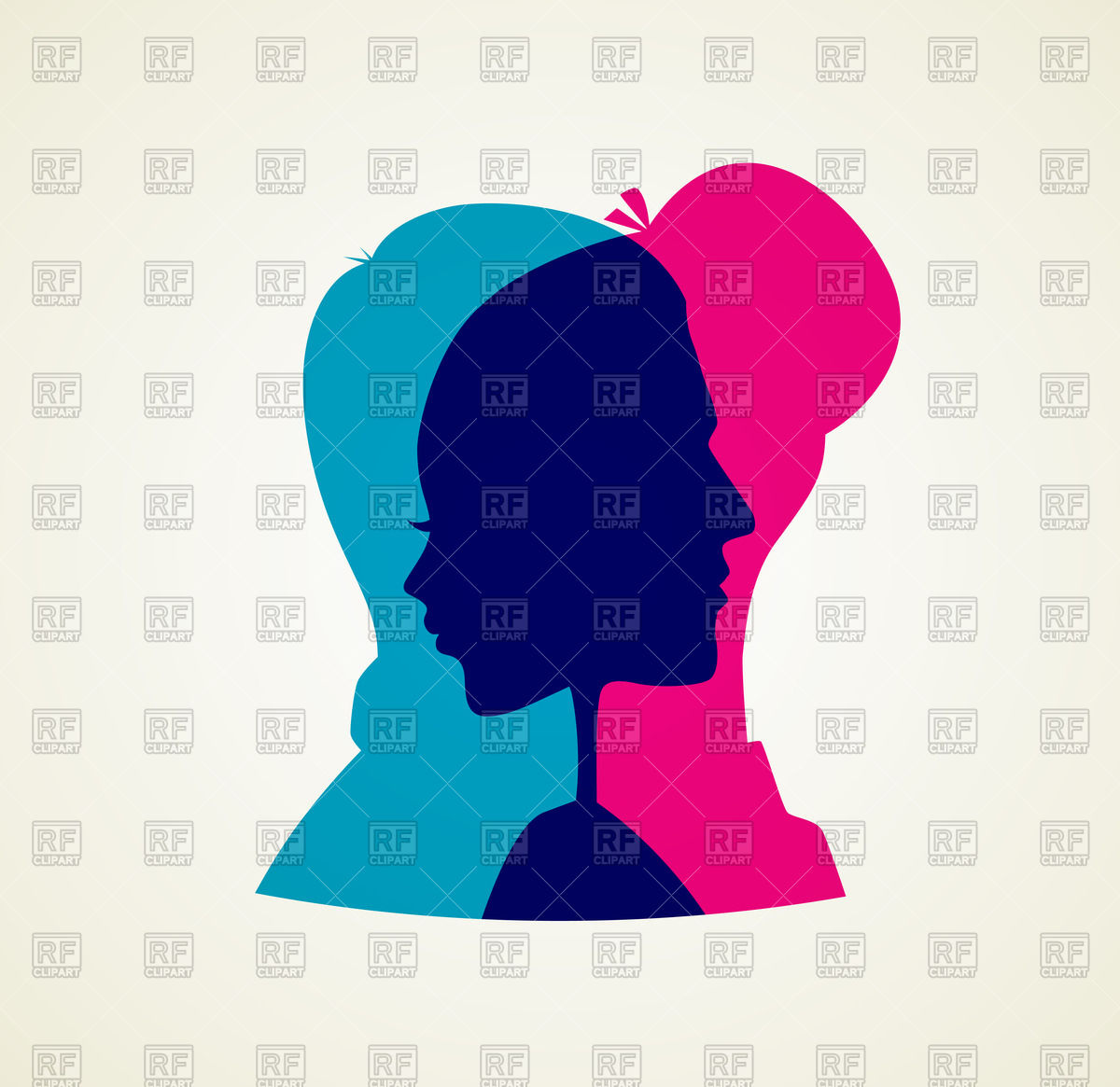 Transparent silhouettes of man and woman Vector Image #47593.
