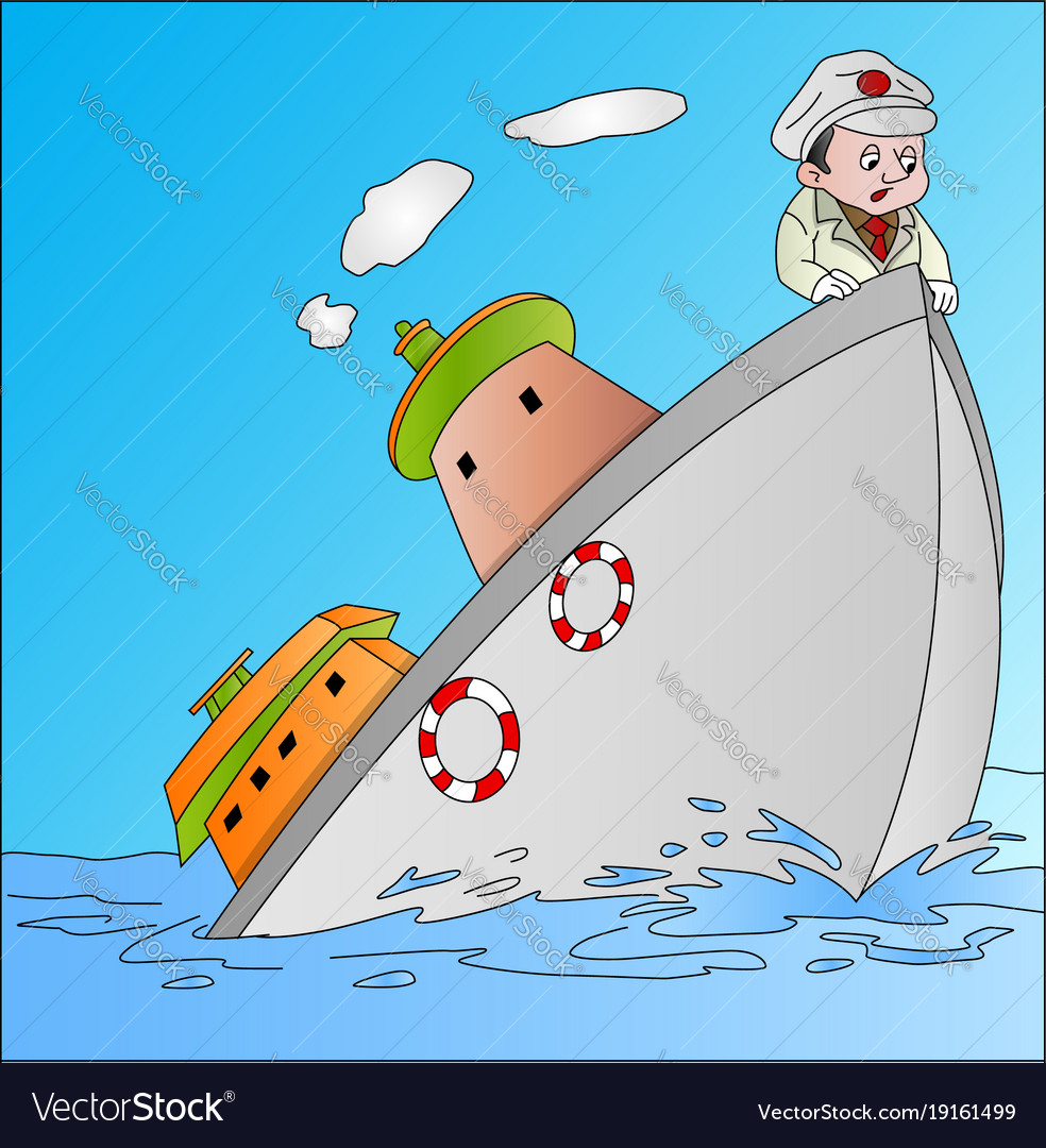 Ship sinking with captain.