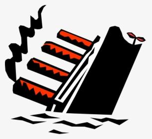 Vector Illustration Of Sinking Titanic Cruise Ship.