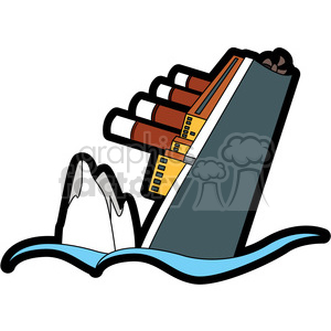 ship in the ocean close to iceberg clipart. Royalty.