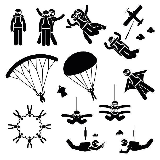Best Skydiving Illustrations, Royalty.