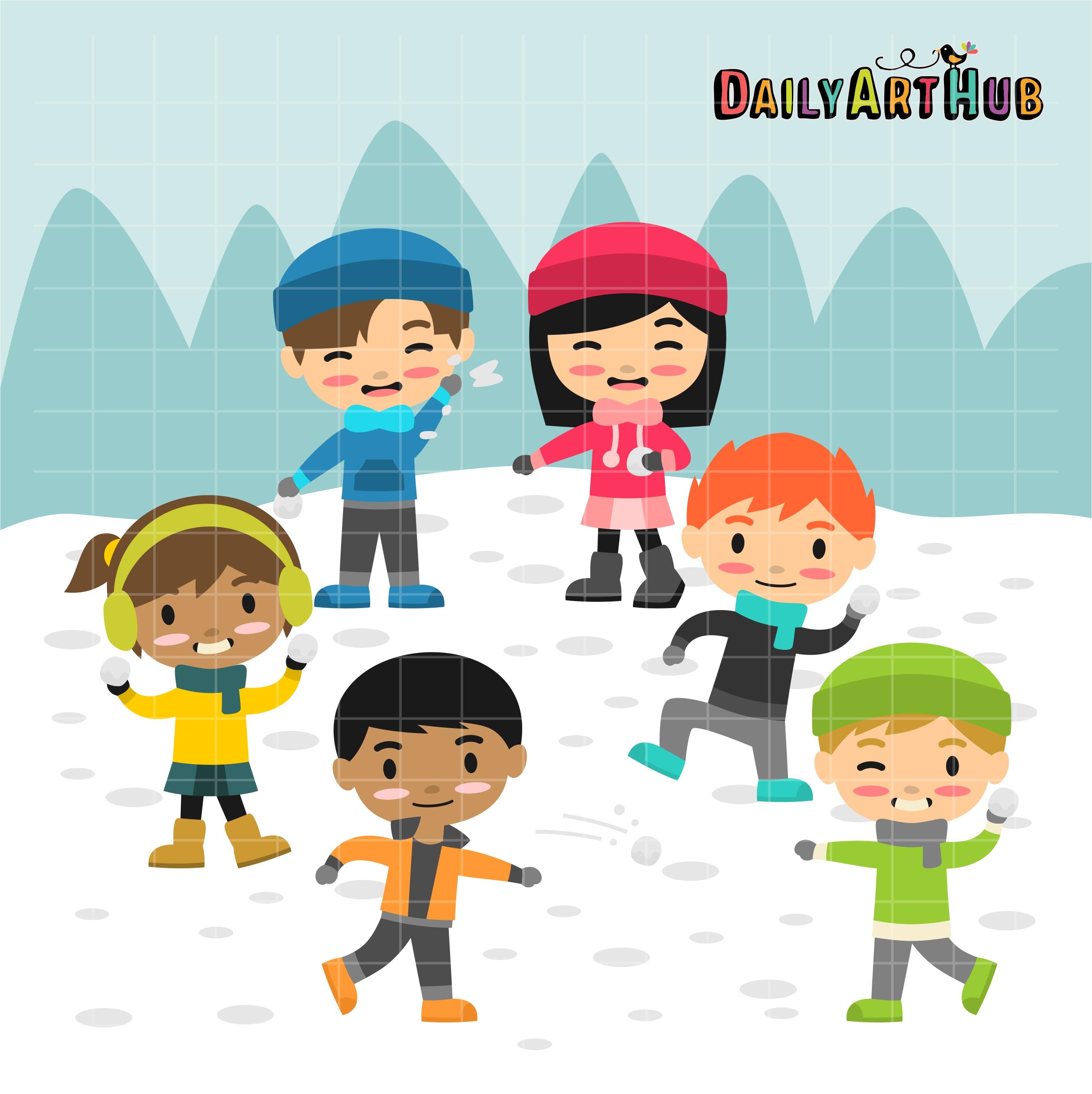 Snowball Fight Kids Clip Art Set.