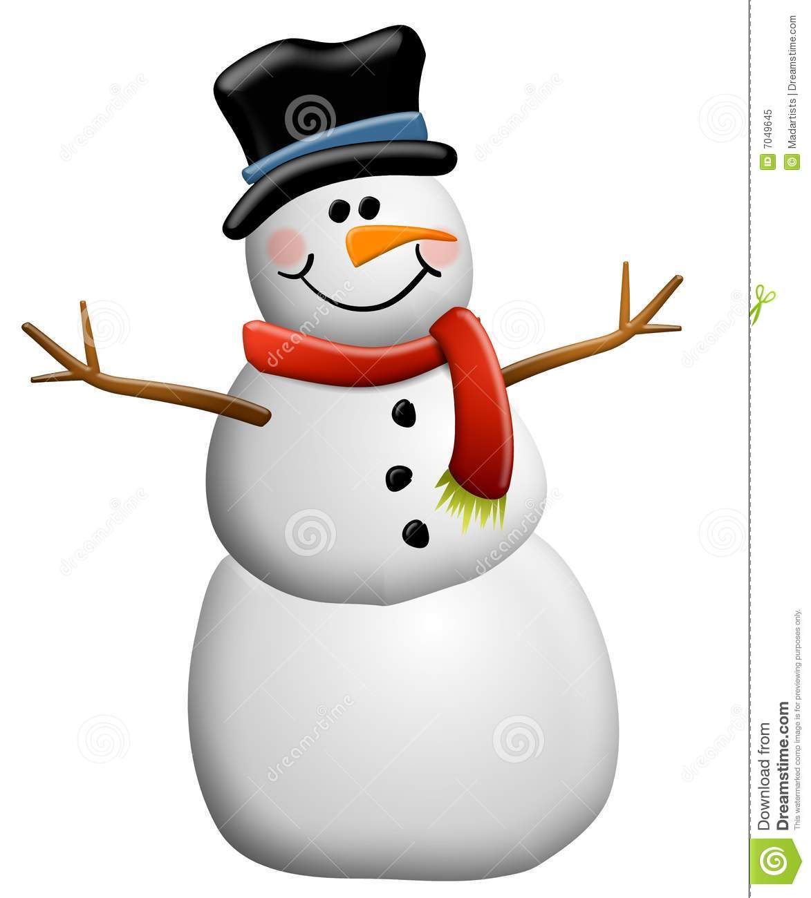 Snowman Clip Art Isolated Royalty Free Stock Photo.