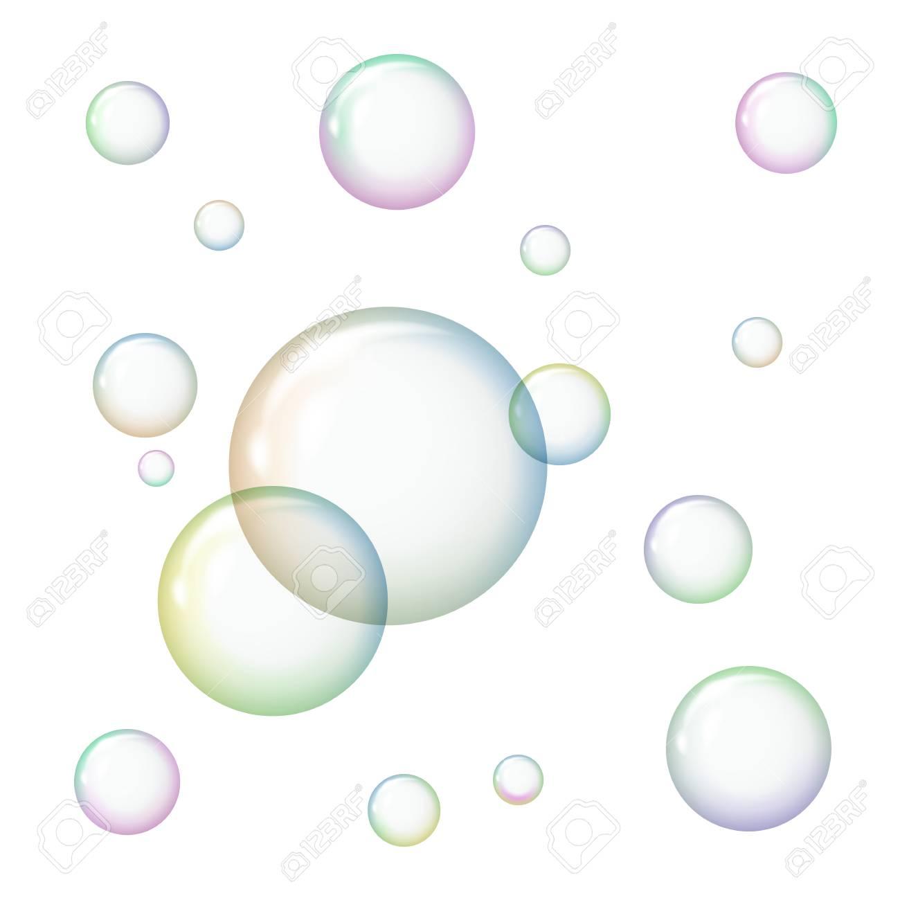 Transparent soap bubbles on white background..