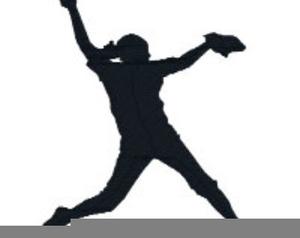 Softball Player Silhouette Clipart.