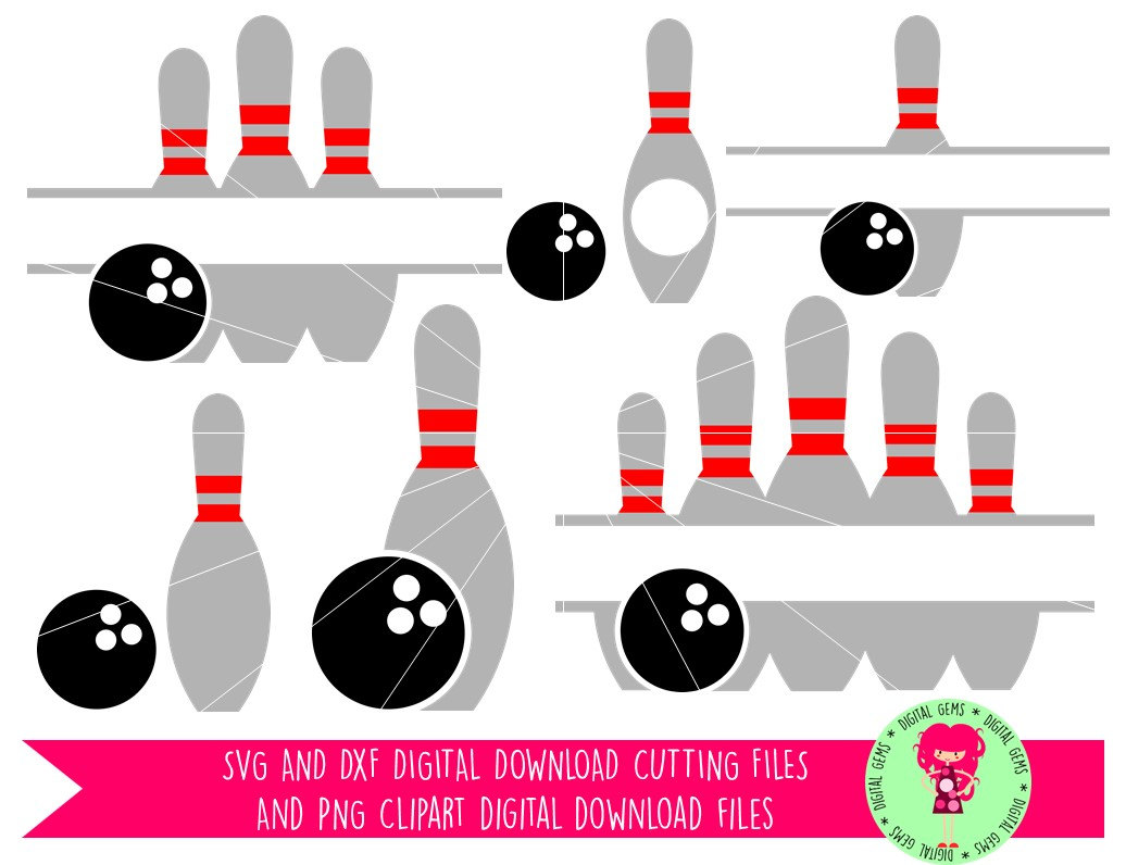Bowling Ball And Pins SVG / DXF Cutting Files For Cricut Explore.