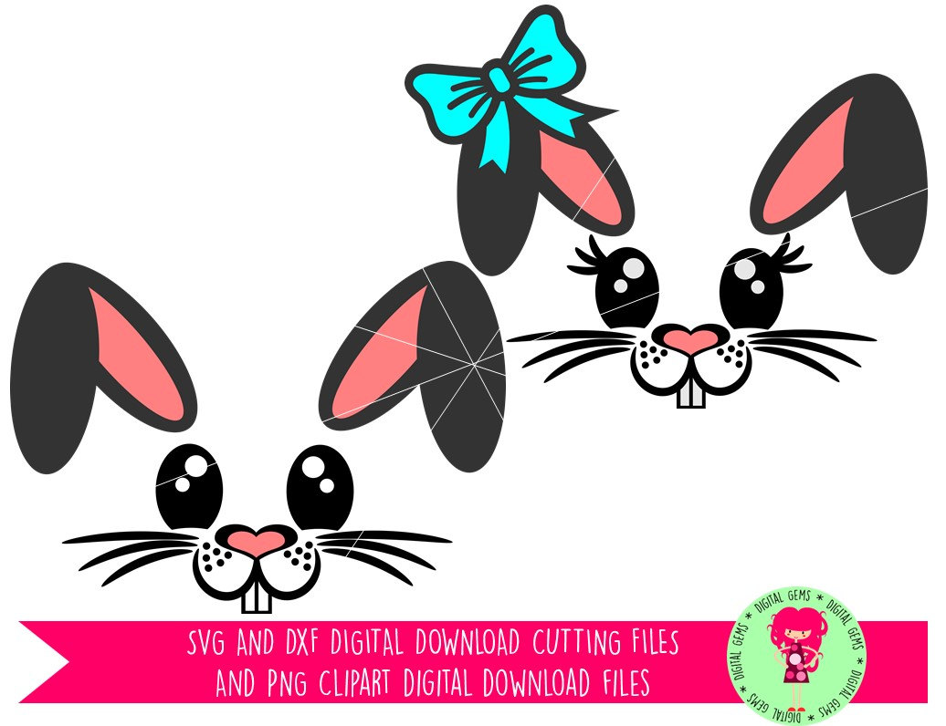 Bunny Rabbit Faces Easter SVG / DXF Cutting Files For Cricut.
