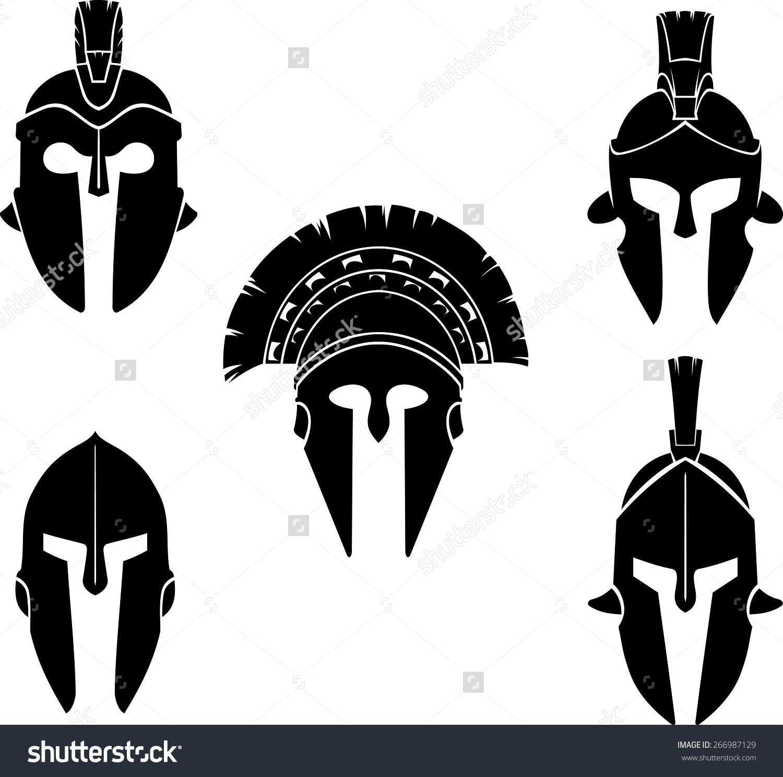 Spartan Helmet Silhouette Set Stock Vector 266987129.