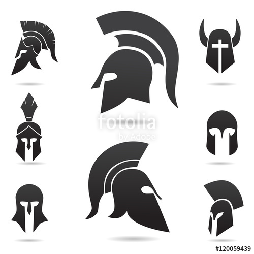 Ancient warrior, knight, spartan helmet icon. Vector art.