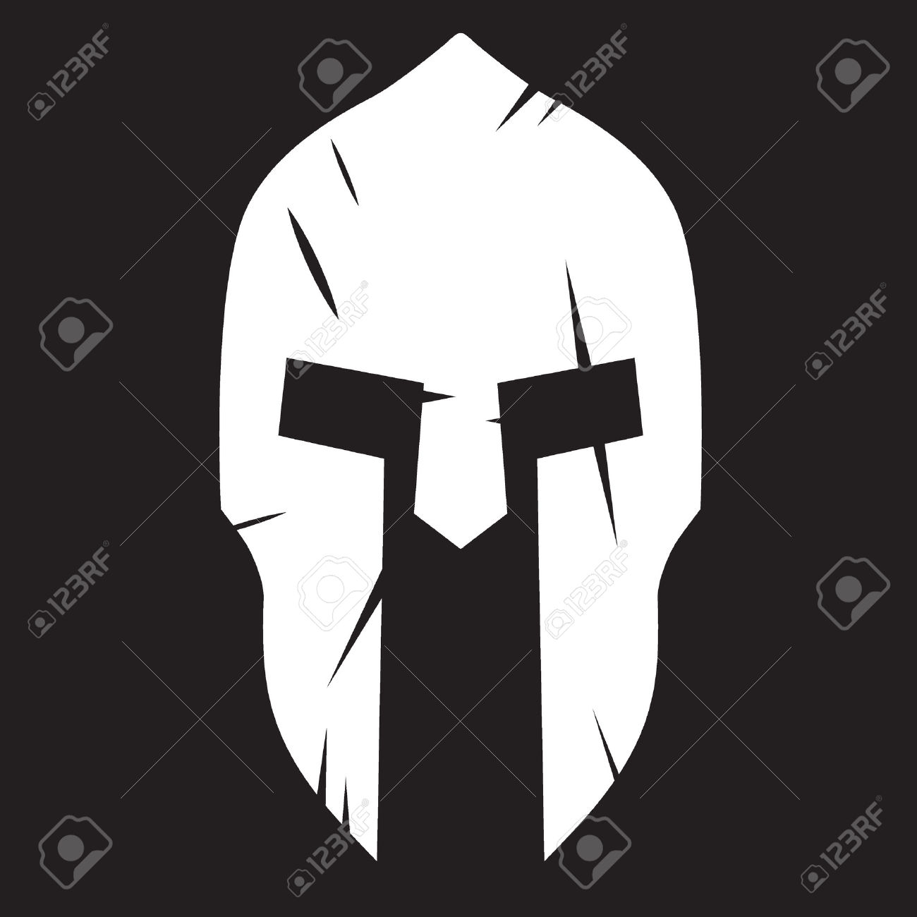 Silhouette Of Spartan Helmet With Scratches From Shock. Vector.