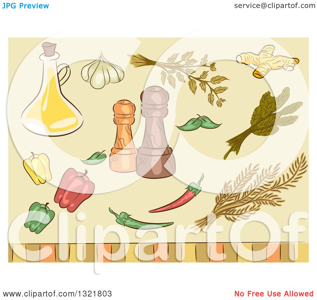 Clipart of Sketched Spice Herbs, Peppers, Seasonings and Oil.