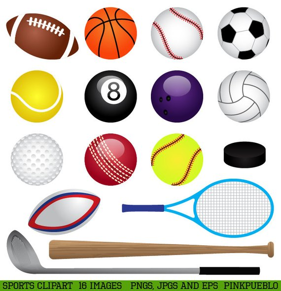 Sports Clipart Clip Art, Basketball, Baseball, Football.