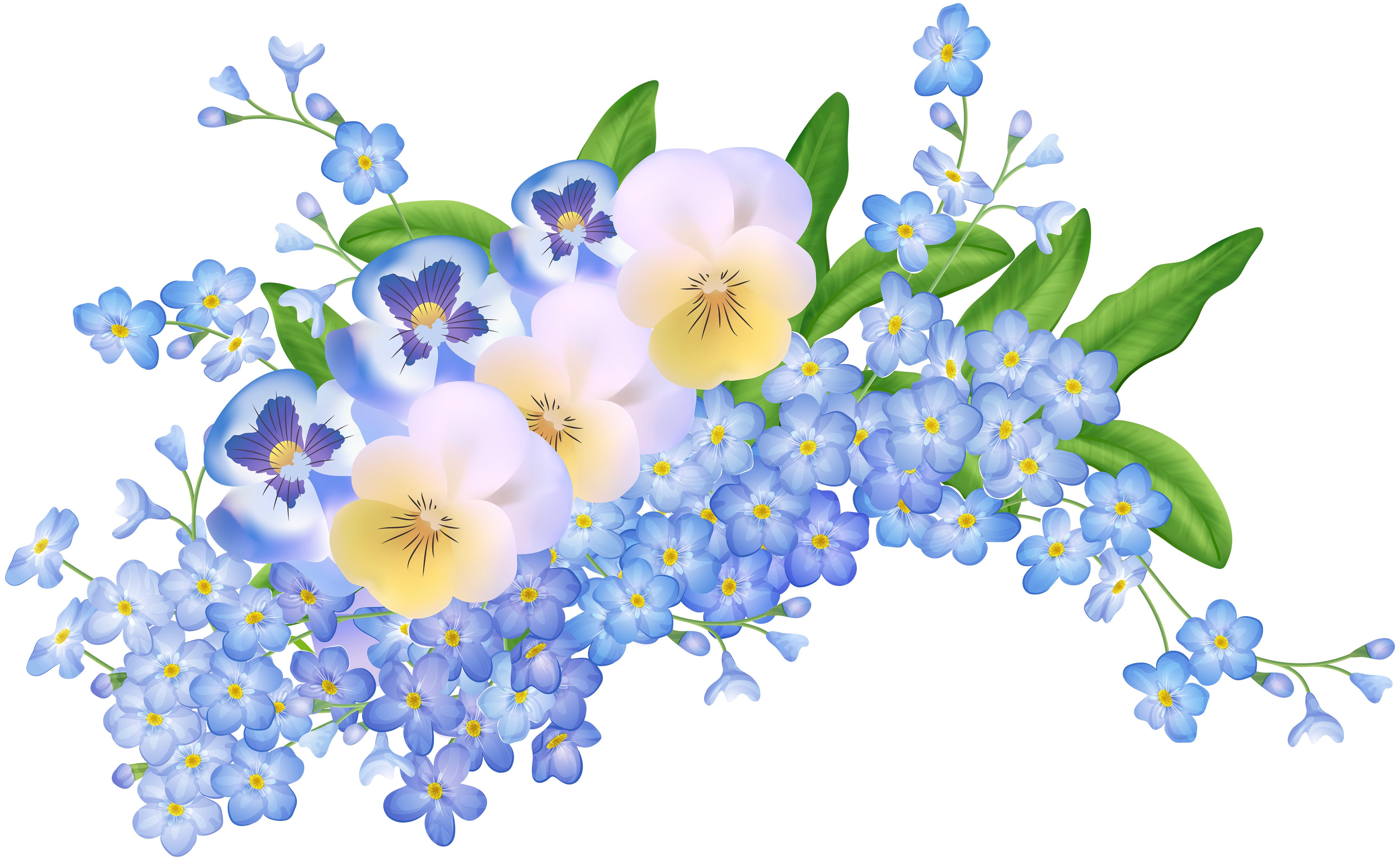 Spring Flowers Decoration Transparent PNG Clip Art Image.