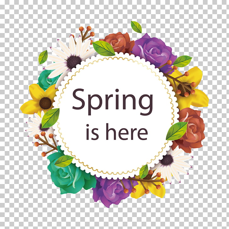 Flowers and leaves, Spring is here text PNG clipart.