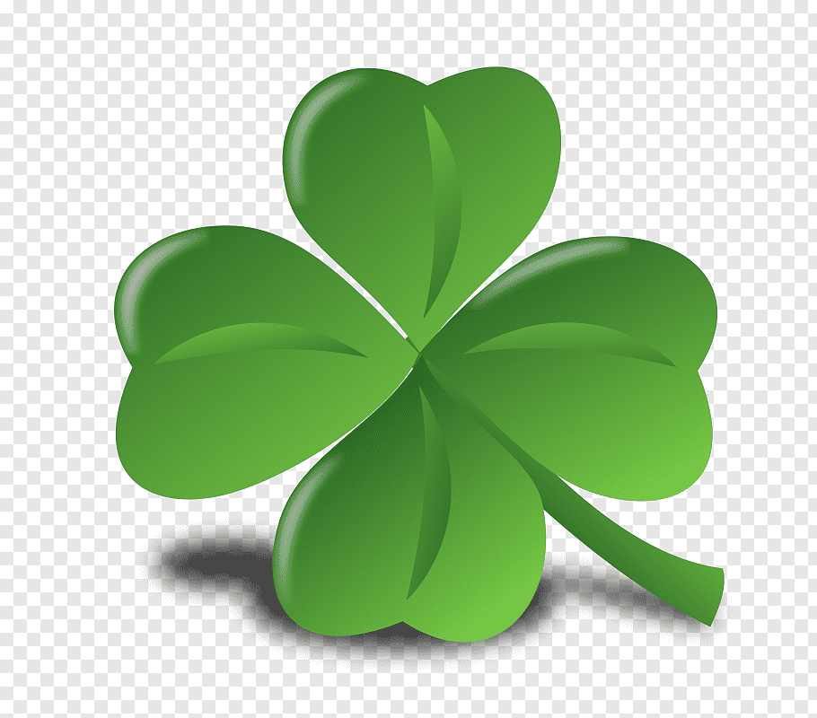 Green clover leaf illustration, Saint Patricks Day Ireland.