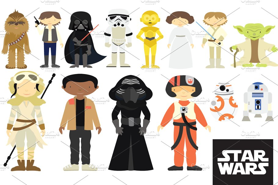 Star Wars Characters Clipart Set.