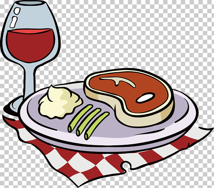 Red Wine Beefsteak , Plaid tablecloth, red wine steak PNG.