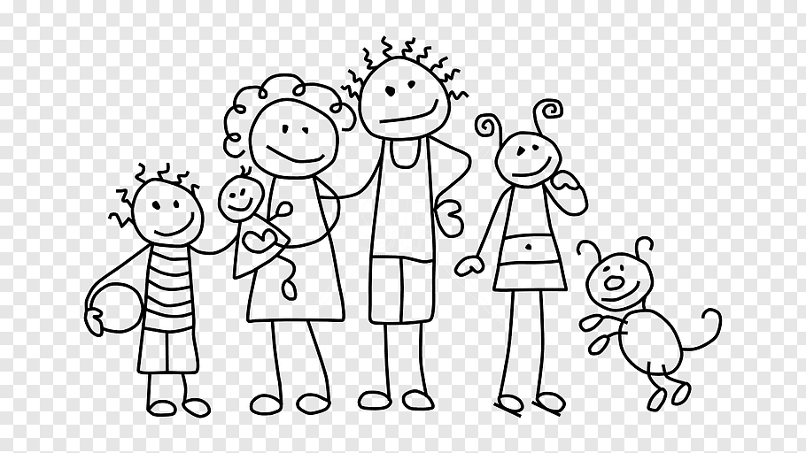 Group Of People, Stick Figure, Drawing, Family, Child.
