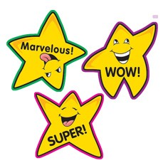 teacher stickers 100 fun shape oro stella, star reward.