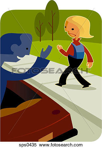 Stock Illustration of A little girl walking away from a stranger.