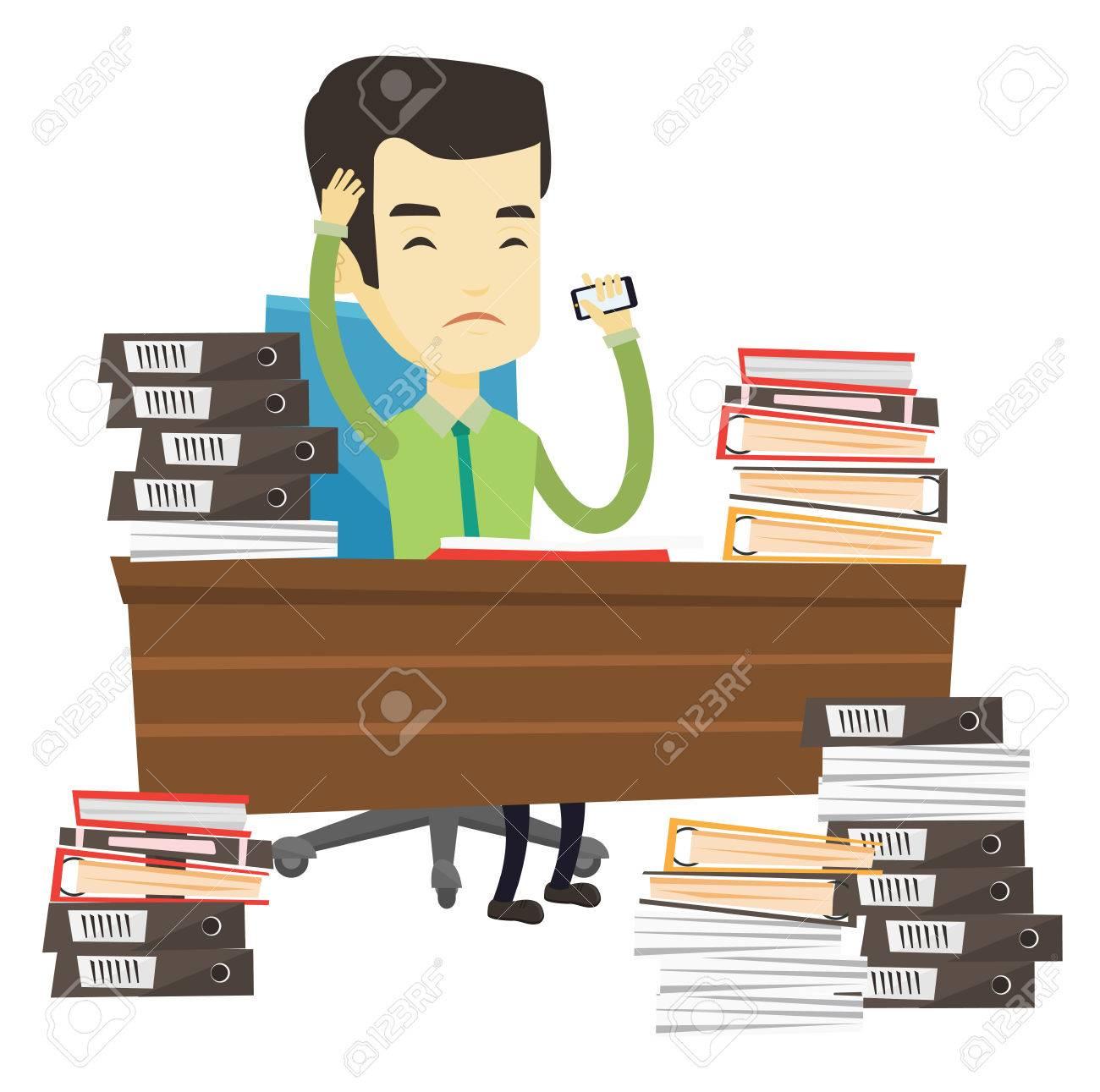 Asian stressed office worker. Office worker feeling stress from...