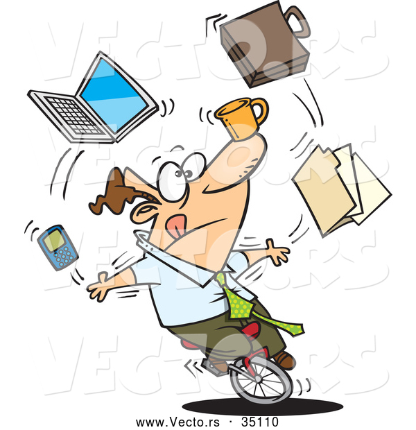 Vector of a Multitasking Cartoon Businessman Juggling Office in.