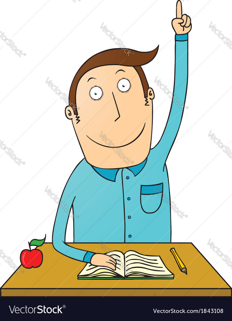 Student raising hand Royalty Free Vector Image.