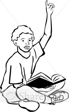 Student Raising Hand Clipart Black And White.