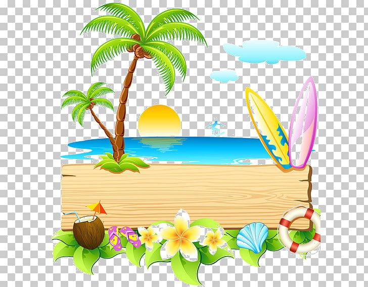 Summer Blog , summer vacation beach free matting PNG clipart.