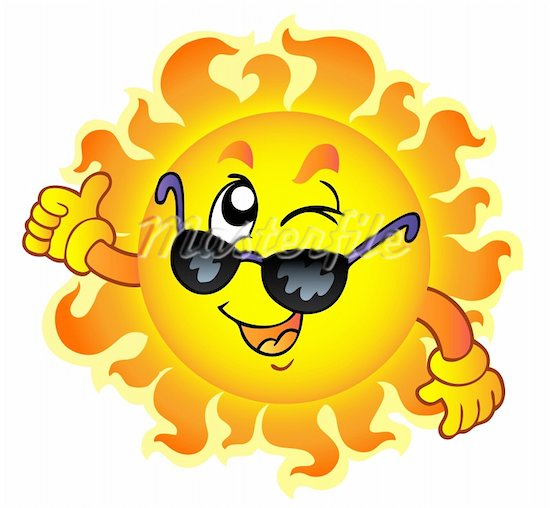 Cartoon Sun With Sunglasses Clipart.