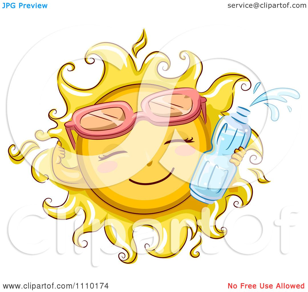 Clipart Happy Summer Sun Wearing Sunglasses And Holding A Water.