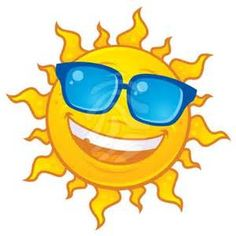 Clip art of the sun wearing sunglasses.