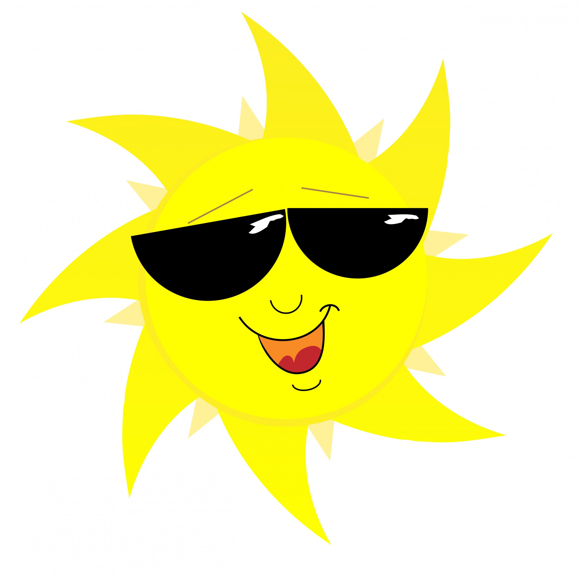 Smiling Sun Face In Sunglasses Free Stock Photo.