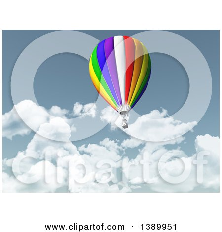 Clipart of a 3d Hot Air Balloon Floating Over a Lake and Mountains.