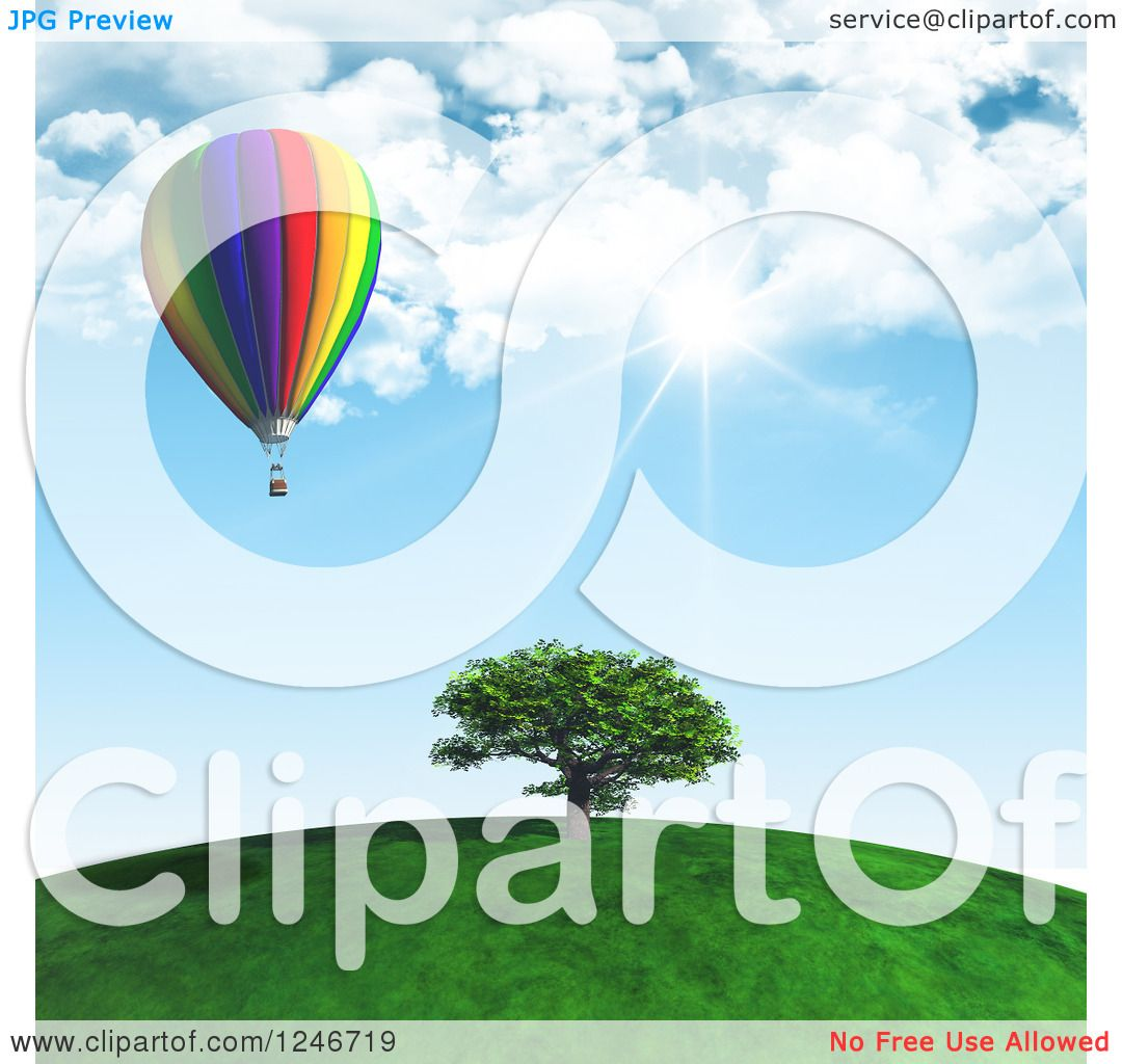 Clipart of a 3d Hot Air Balloon over a Tree on a Hill Top on a.