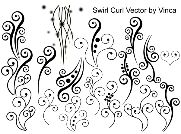 Swirl Curly Vector Clipart Graphic.